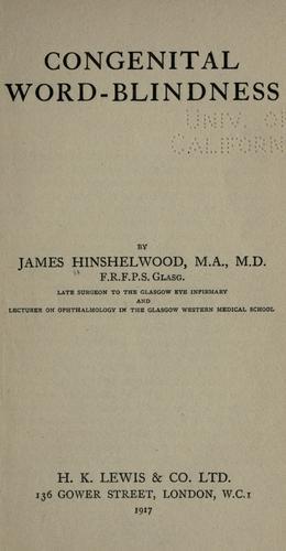 Congenital word-blindness