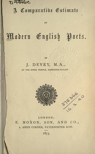 Download A comparative estimate of modern English poets.