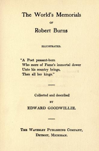 Download The world's memorials of Robert Burns …