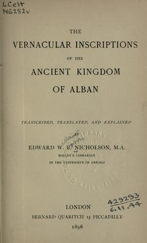 Download The vernacular inscriptions of the ancient kingdom of Alban.