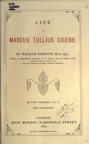 Life of Marcus Tullius Cicero.