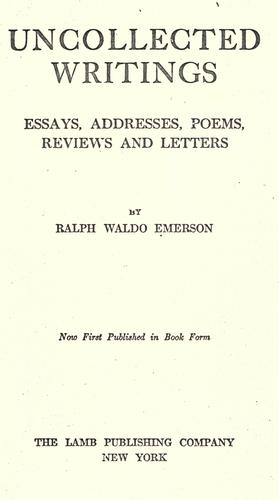 Download Uncollected writings