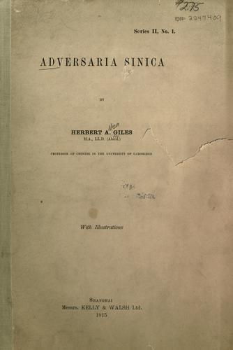 Adversaria Sinica.