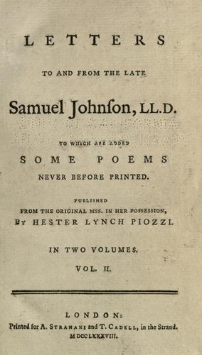 Download Letters to and from the late Samuel Johnson, LL.D.