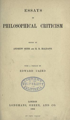Download Essays in philosophical criticism