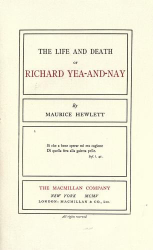 Download The life and death of Richard Yea-and-Nay.