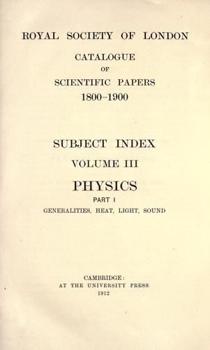 Download Catalogue of scientific papers, 1800-1900