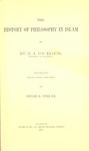 Download The history of philosophy in Islam.