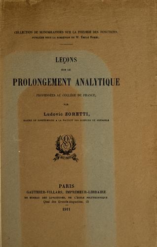 Download Leçons sur le prolongement analytique professées au Collège de France