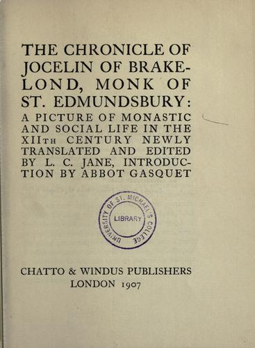 Download The chronicle of Jocelin of Brakelond, monk of St. Edmundsbury