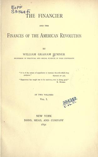 Download The financier and the finances of the American revolution.