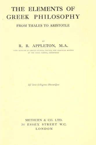 Download The elements of Greek philosophy from Thales to Aristotle.