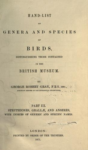 Download Hand-list of the genera and species of birds
