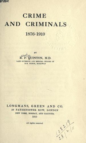 Crime and criminals, 1876-1910