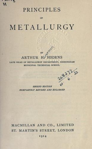 Principles of metallurgy.