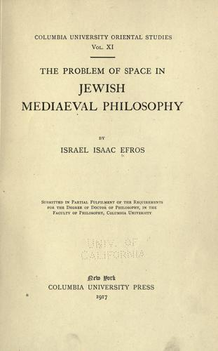 Download The problem of space in Jewish mediaeval philosophy