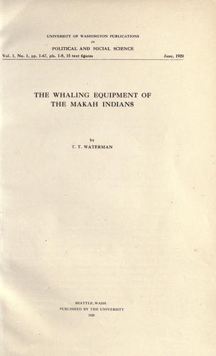 Download The whaling equipment of the Makah Indians