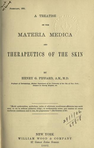 A treatise on the materia medica and therapeutics of the skin.