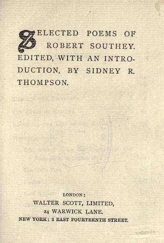 Selected poems of Robert Southey.