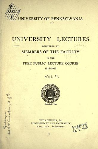 University lectures delivered by members of the faculty in the free public lecture course.