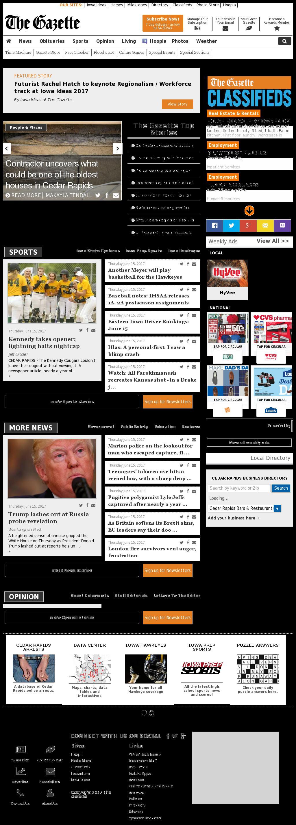 The (Cedar Rapids) Gazette at Friday June 16, 2017, 9:06 a.m. UTC