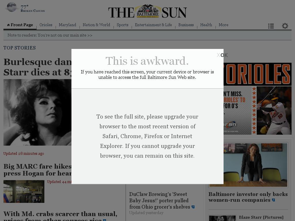 The Baltimore Sun at Tuesday June 16, 2015, 2 a.m. UTC