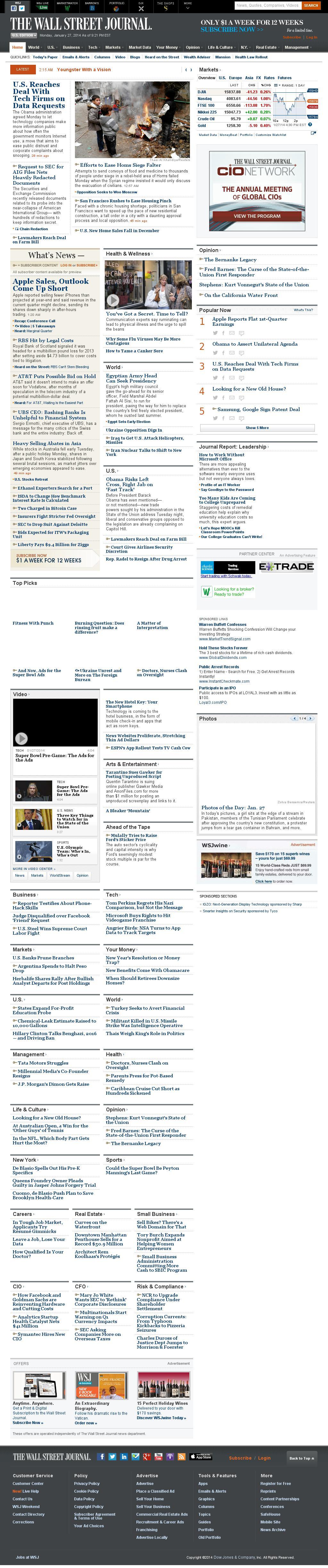 The Wall Street Journal at Tuesday Jan. 28, 2014, 2:25 a.m. UTC