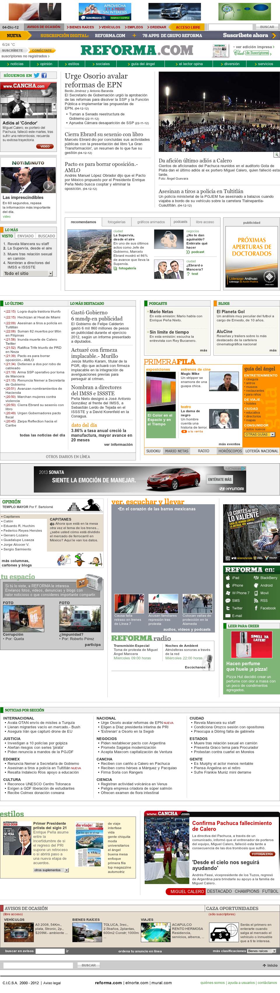 Reforma.com at Wednesday Dec. 5, 2012, 7:29 a.m. UTC