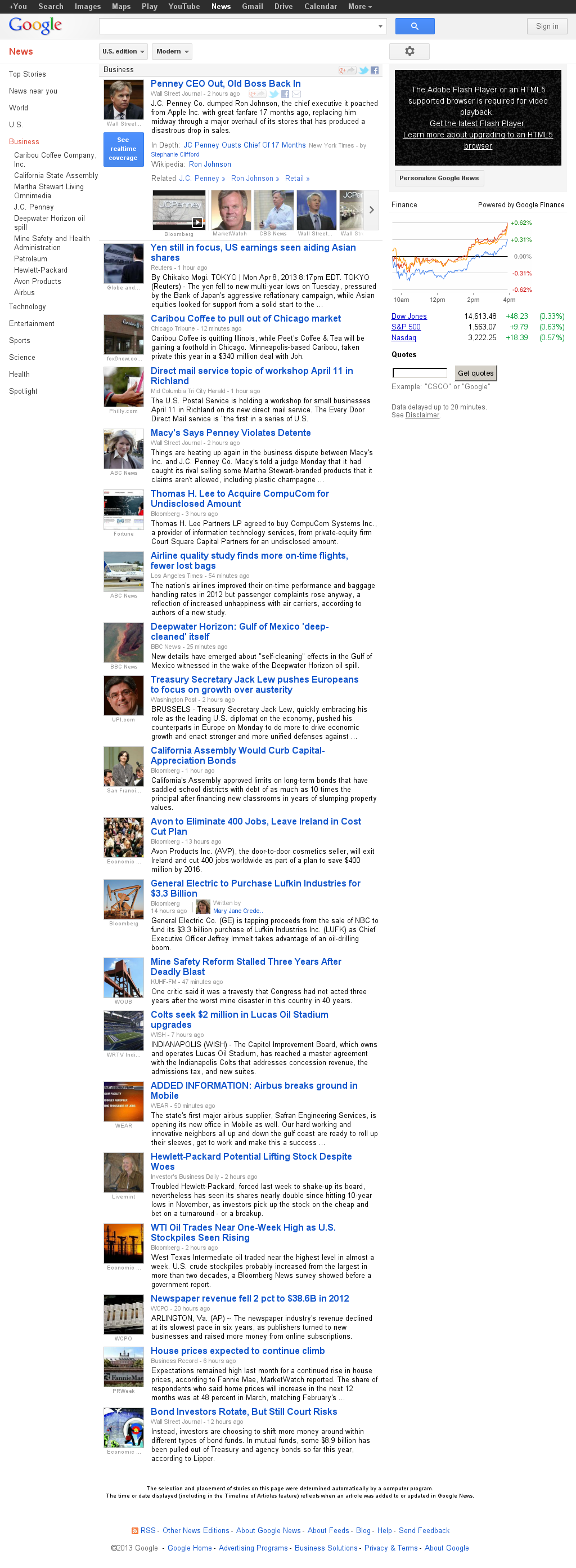 Google News: Business at Tuesday April 9, 2013, 2:08 a.m. UTC