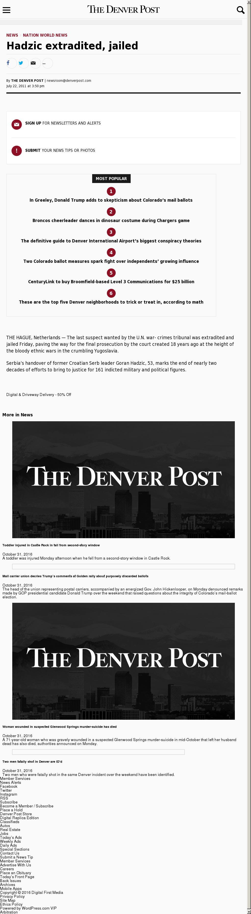 Denver Post at Tuesday Nov. 1, 2016, 2:03 a.m. UTC