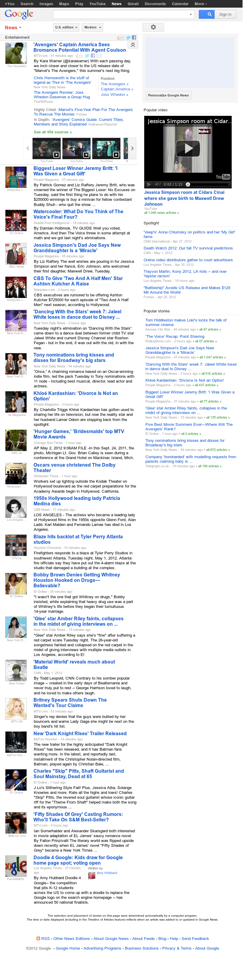 Google News: Entertainment at Wednesday May 2, 2012, 3:06 p.m. UTC