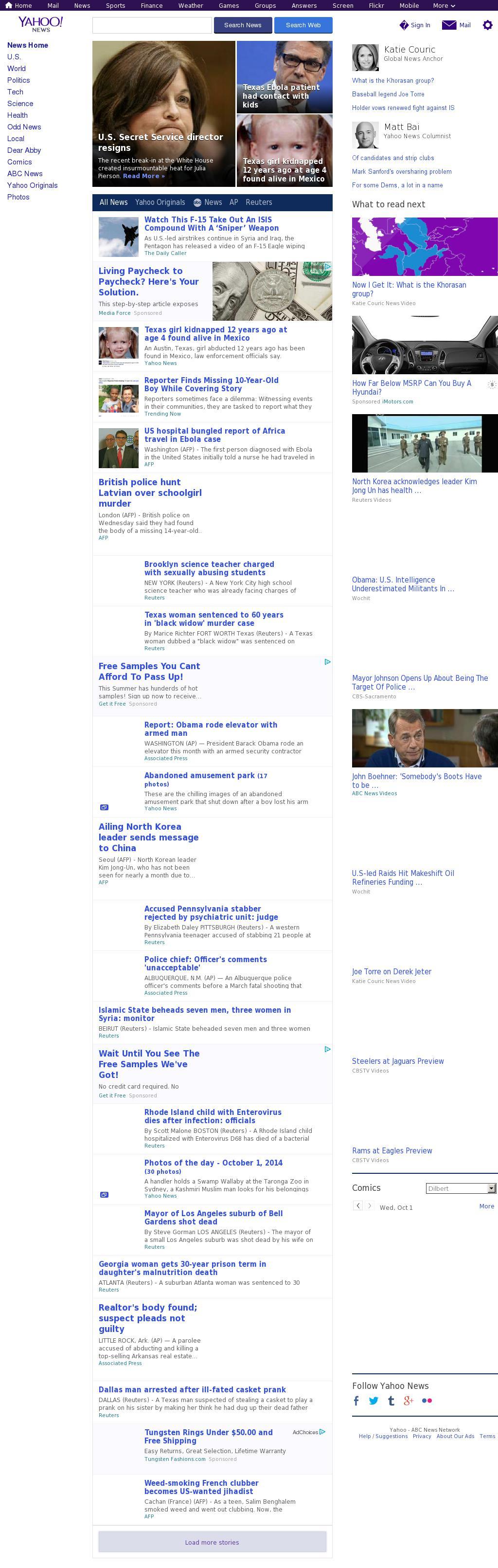 Yahoo! News at Wednesday Oct. 1, 2014, 8:22 p.m. UTC
