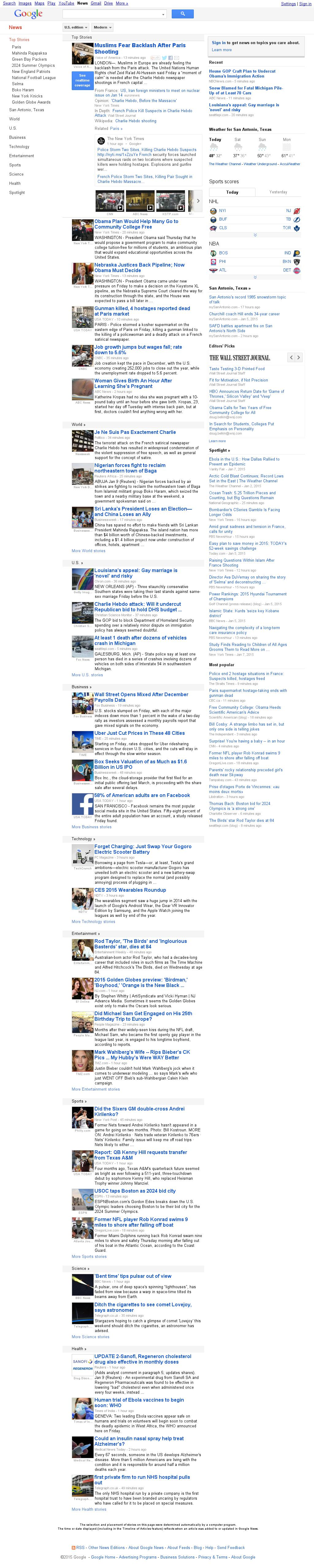 Google News at Friday Jan. 9, 2015, 6:09 p.m. UTC