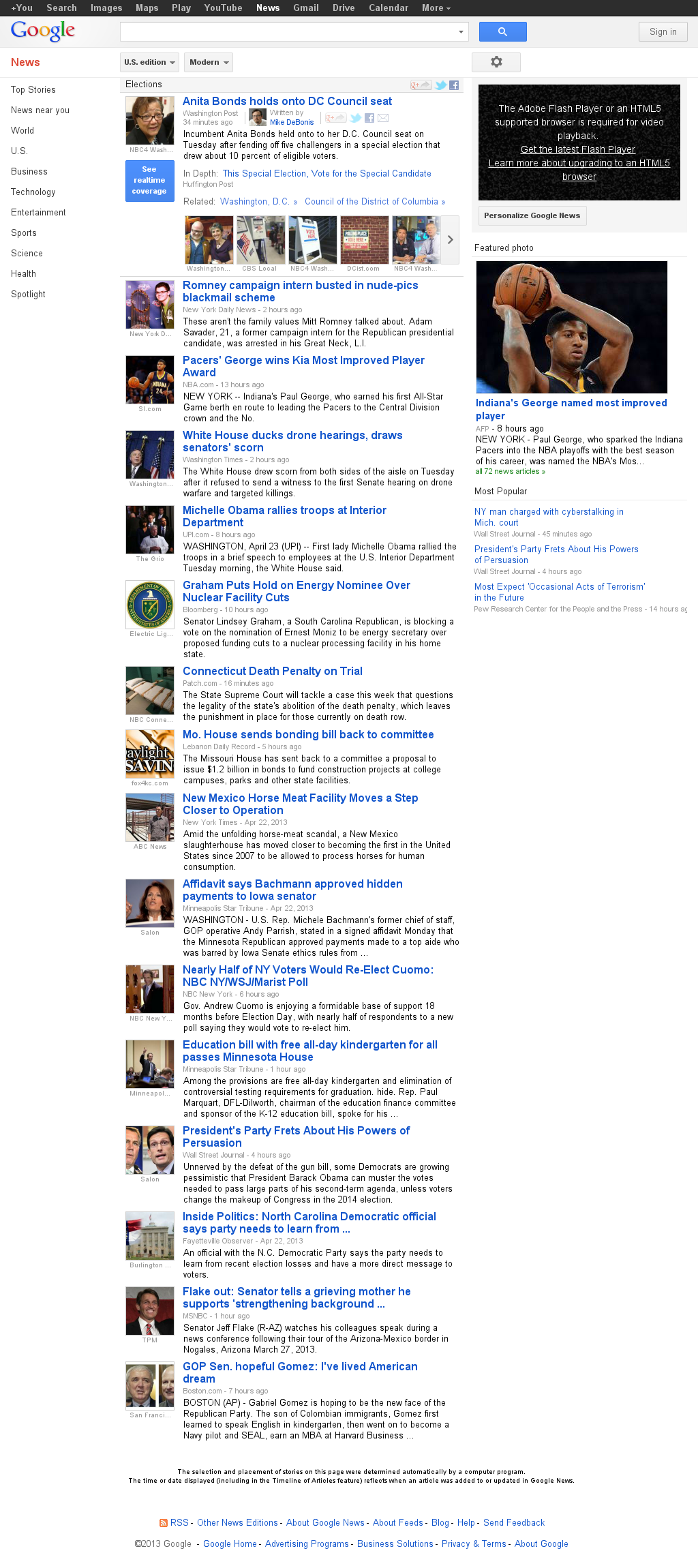 Google News: Elections at Wednesday April 24, 2013, 4:08 a.m. UTC