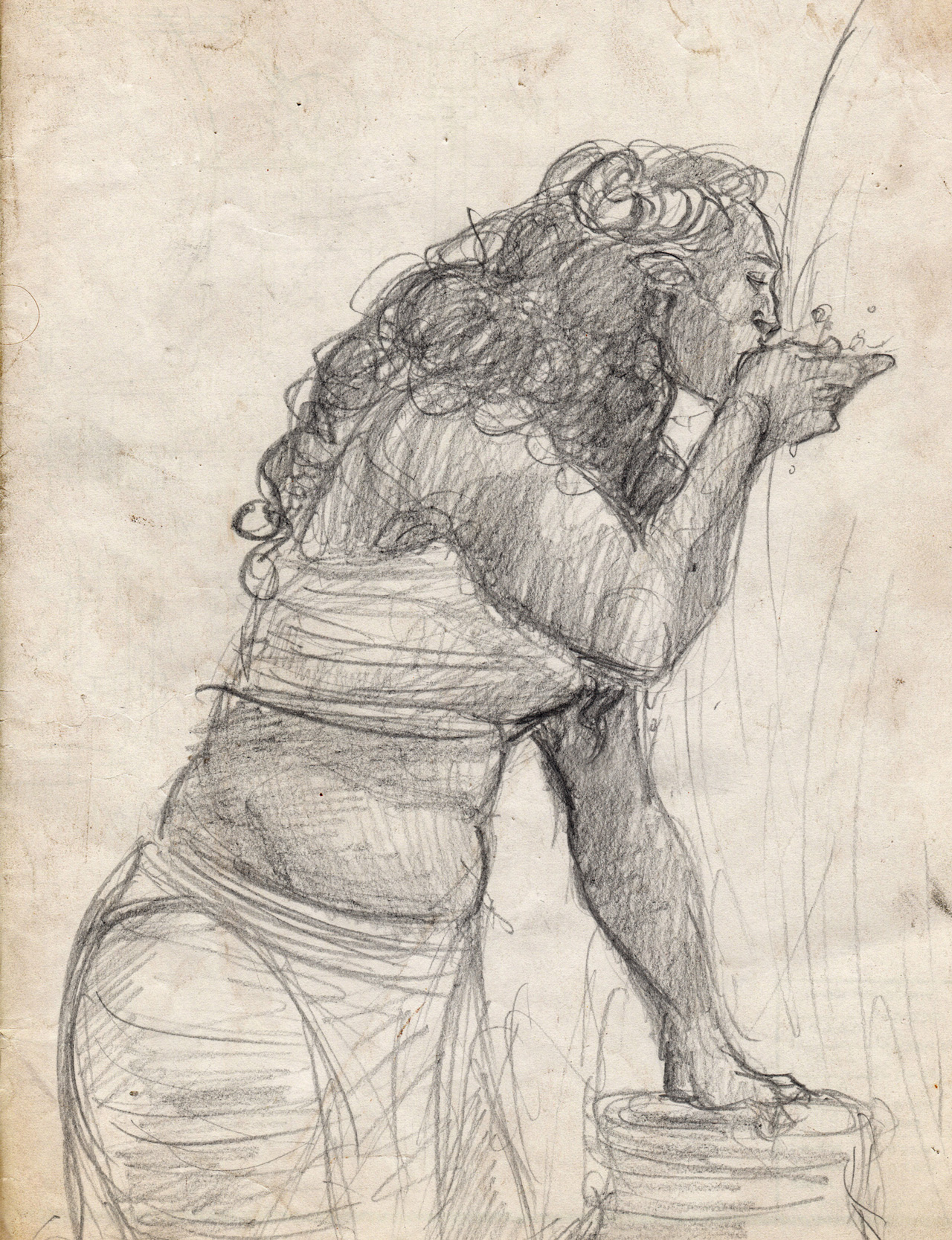 On a weathered piece of paper, Bull has drawn the acolyte drinking water from the fountain. She stands in profile, facing left, and the drawing shows her leaning on a large ceramic jug. One hand is raised to her mouth. Her hair is curly and long, and her eyes are closed.