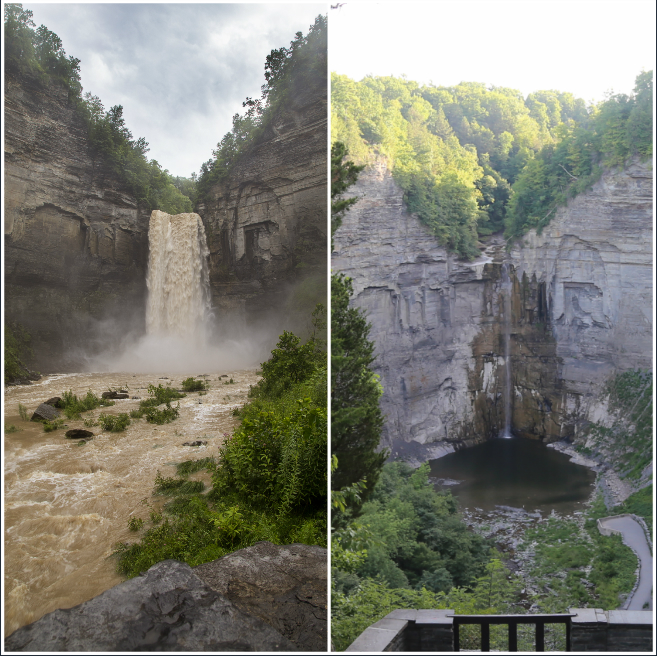 WHAT A DIFFERENCE A YEAR MAKES: Photos of Taughannock show how wet this summer has been compared to a year ago