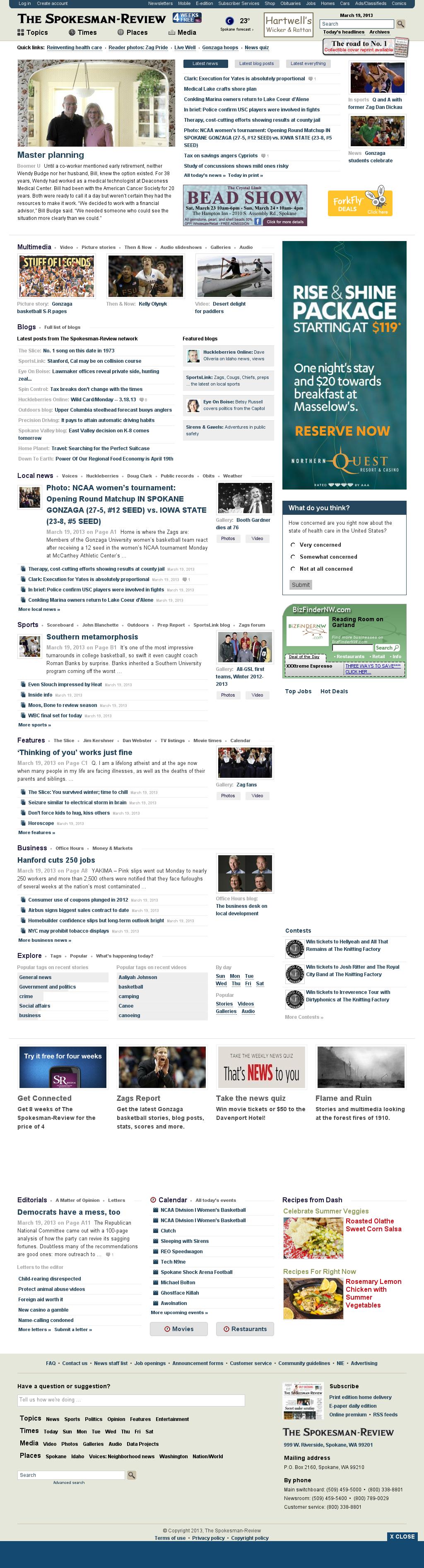 The (Spokane) Spokesman-Review at Tuesday March 19, 2013, 10:25 a.m. UTC