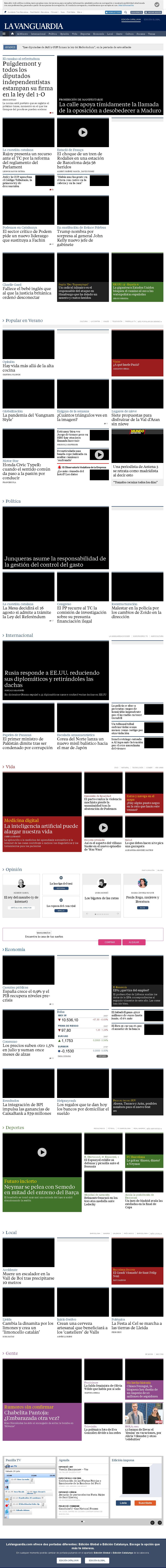 La Vanguardia at Saturday July 29, 2017, 12:25 a.m. UTC