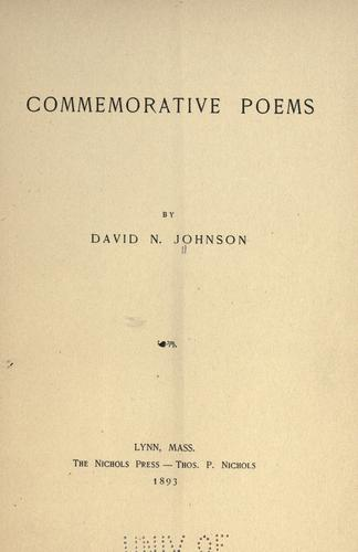 Commemorative poems by David N. Johnson