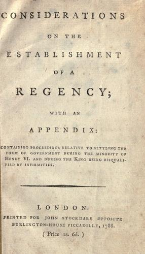 Considerations on the establishment of a regency