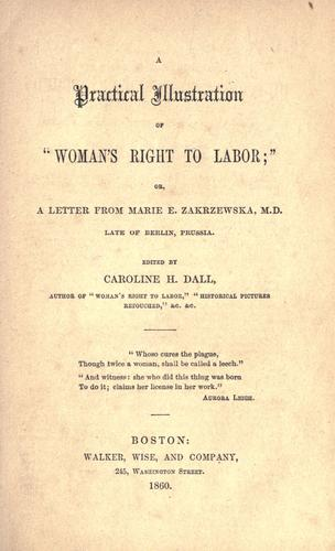 "A practical illustration of ""Woman's right to labor;"" by Caroline Wells Healey Dall"