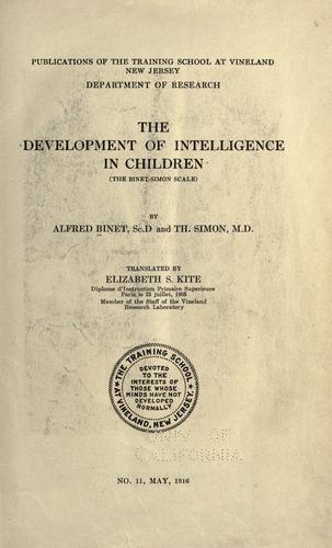 The Development of Intelligence in Children