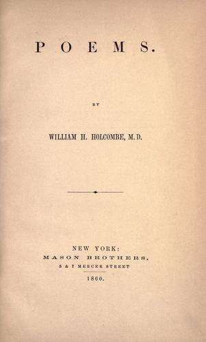 Poems by William H. Holcombe