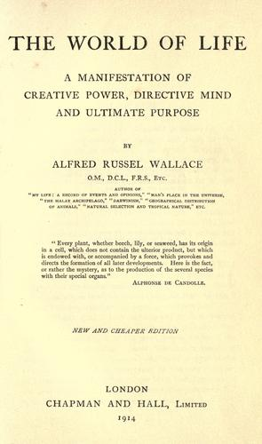 The world of life by Alfred Russel Wallace