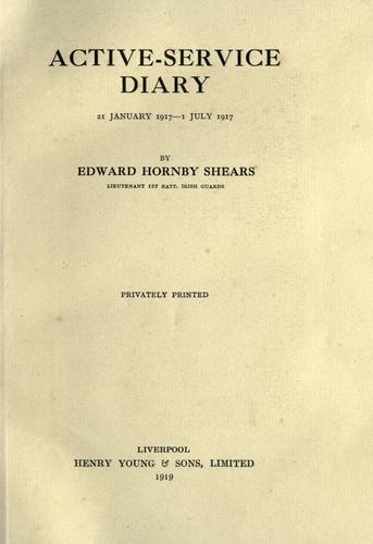 Active-service diary, 21 jan. 1917-1 by Edward Hornby Shears