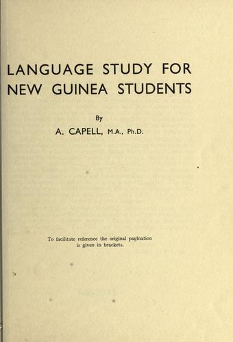 Language study for New Guinea students by Arthur Capell